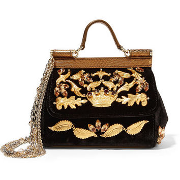 Dolce & Gabbana - Sicily mini embellished velvet and metallic leather shoulder bag