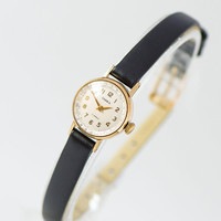 Delicate women's watch gold plated Seagull, vintage lady watch small, cocktail watch gift bride, petite girl watch new premium leather strap