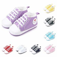 Baby Boys Girls Lace-up Crib Shoes Infant Toddler Shoes Winter Warm Sneakers US