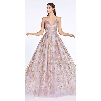Rose Gold Long Ball Gown Dress Glitter Print Details Plunge V-Neckline