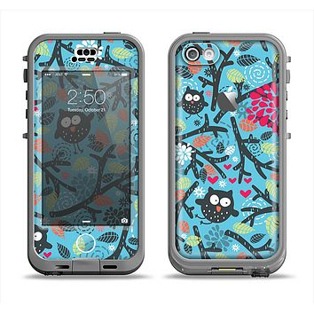 The Blue and Black Branches with Abstract Big Eyed Owls Apple iPhone 5c LifeProof Nuud Case Skin Set