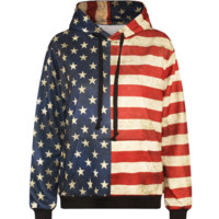American Flag Pattern Womens Sweatshirt Hoodies