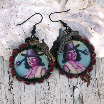 Cowgirl Pinup Art Vintage Photo Earrings Western Rodeo Jewelry