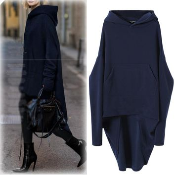 Autumn New Style Solid Color Loose Hooded Drop Shoulder All Matched Fashion Simple Modest Casual Long Style