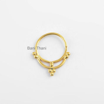 Septum Piercing, Handmade Nose Ring, Gold Plated 925 Sterling Silver Nose Ring - Nose Jewelry - Real Septum - Nose Hoop - #11709