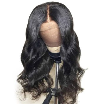 Brazilian 13X4 Lace Front Human Hair Wigs With Baby Hair Body Wave Lace Front Wig Remy Hair Pre Plucked Bleached Knot With Full