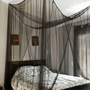4 Corner Post Bed Canopy Mosquito Net Full Queen King Size Netting Bedding Black | Overstock.com Shopping - The Best Deals on Bed Canopies
