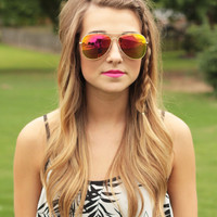 Mirrored Aviator Sunglasses- Orange