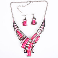 Candy Crystal Stone V-Cut Necklace and Earrings