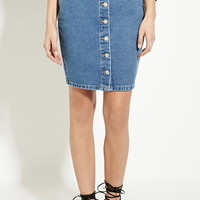 Buttoned Denim Pencil Skirt | Forever 21 - 2000186239