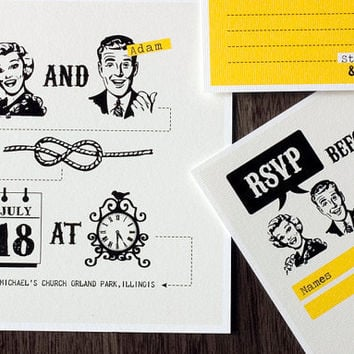 Printable 50s wedding invitation set  Tying the knot by sthblue