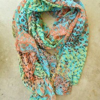 Charming Peacock Feather Scarf [2252] - $18.90 : Vintage Inspired Clothing & Affordable Fall Frocks, deloom | Modern. Vintage. Crafted.
