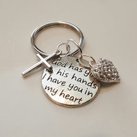 God has you in his hands.....Personalized Key Chain Loss Remembrance, Sympathy, Pet, Memorial Hand stamped Bespoke