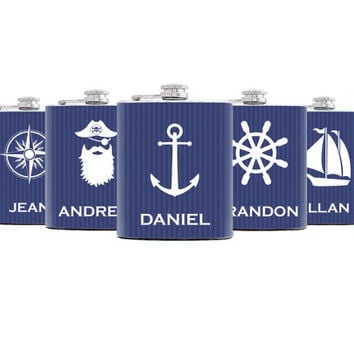 Groomsmen flasks Set of 5 Personalized Groomsmen gift Flasks for wedding party  Best groomsmen gift Nautical themed Flasks for groomsmen