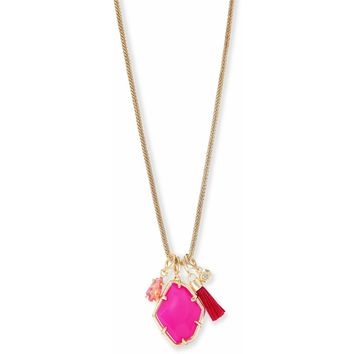 Kendra Scott: Hailey Gold Long Pendant Necklace In Pink Agate