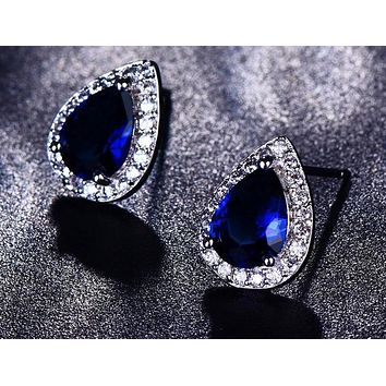 Blue Water Drop Gem Police Stud Earrings
