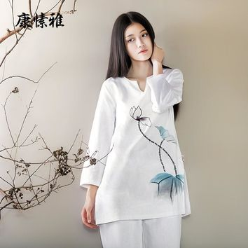 Yoga Suits Cotton Linen Yoga Sets Shirt Pants Meditation Zen Buddhism Tea Dress Exercise Clothing Chinese Style K360