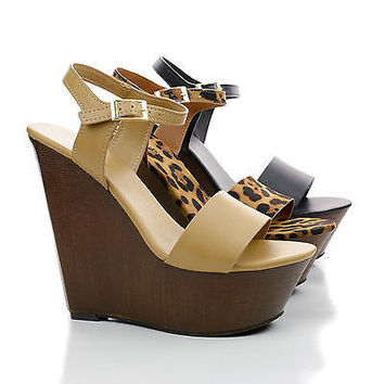 Daff05 Open Toe Faux Wooden Platform High Wedges