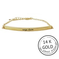 Carpe Diem Bar Bracelet with Charm by Kitsch {Gold}