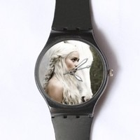 Custom Game of Thrones Watches Classic Black Plastic Watch WT-0809