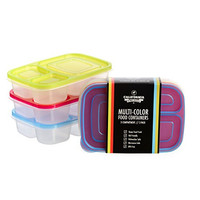 California Home Goods 3 Compartment Reusable Food Storage Containers for Kids and Adults, Microwave, Dishwasher Safe, Multi-Colored, Set of 3