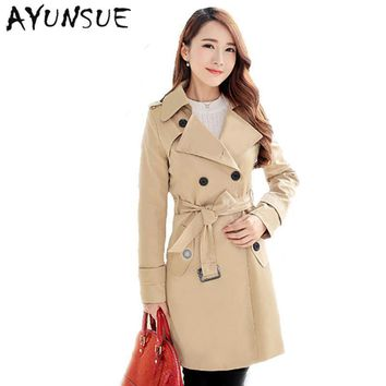 Plus Size Women Clothing Spring Autumn Double Breasted Md-long Coat 2017 New Fashion Belt Rench Coat For Women Outwears Trench - Beauty Ticks
