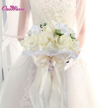 Artificial Silk Flowers Bouquet Foam Roses Wedding Bouquet Bridal Bouquet Lace Decoration Natural Pearls Wedding Flowers