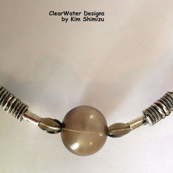 Hand Blown Glass Jewelry Glass Blown Bead Necklace Silver Chain Brown Glass Necklace