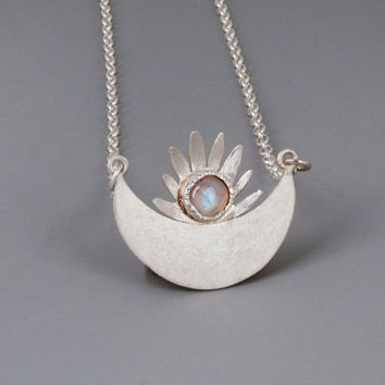 Sterling Silver Sun Necklace; Moonstone Necklace; Silver Moonstone Pendant; June Birthstone Jewelry; Unique Necklace; Sun Moon Necklace