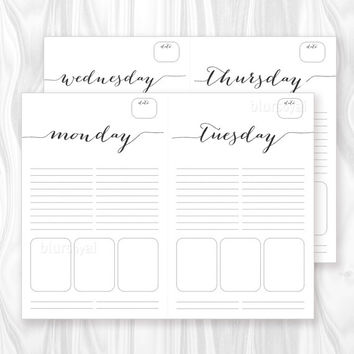 Printable to do list, daily to-do printable, weekly planner calendar notepad, simple black layout, digital PDF ORG 002- letter & half letter