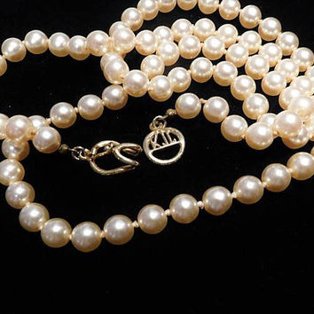 "Vintage Kenneth Jay Lane Faux Pearl Necklace / KJL Opera Length 30"" Necklace / Designer Fashion Wedding"