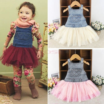Girl's Jeans Tulle Dress Super Cute Party Dress Suspender Skirt Birthday Gift SV000729|26601 Children's Clothing = 1745556100