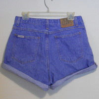 High Waisted Shorts Blue Jean Denim Vintage 90s Highwaisted Cutoff Cut Off Roll Up Plus Size 31 / 14 by Zena Indie Hipster