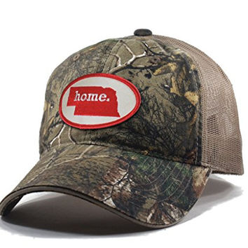 Homeland Tees Men's Nebraska Home State Realtree Camo Trucker Hat - Red