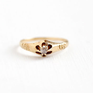 Antique Victorian 14k Rose Gold Old Mine Cut Diamond Ring - Vintage Size 4 3/4 Raised Belcher Solitaire Engagement Promise Fine Jewelry