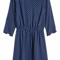 Short dress - Dark blue/Spotted - Ladies | H&M GB