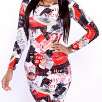 Magazine Print Long Sleeve Midi Dress