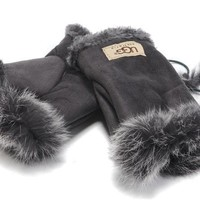 UGG Gloves Winter Women Mittens Velvet Fur Gloves-6