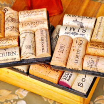 Nice Set of 4 Wine Cork Slate Coasters ~~ Perfect Gift for Valentine's, Weddings, Anniversary, Housewarming, or Birthdays!!