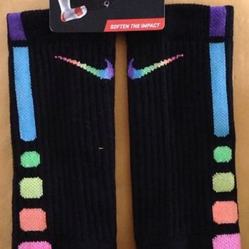 **Rare* Custom Rainbow Nike Elite Socks (mens Large)