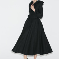 Long Black Coat - Warm Wool Elegant Womens Coat with Ruffles Hood & Lantern Sleeves (C706)