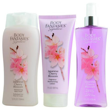 BODY FANTASIES JAPANESE CHERRY BLOSSOM by Body Fantasies BODY SPRAY 8 OZ & BODY LOTION 7 OZ & BODY WASH 12 OZ