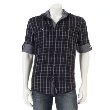 Men's Rock & Republic Plaid Roll-Tab Button-Down Hoodie