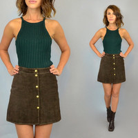 vtg 70's high waisted SUEDE chocolate brown MINI SKIRT w/ metal snaps, extra small