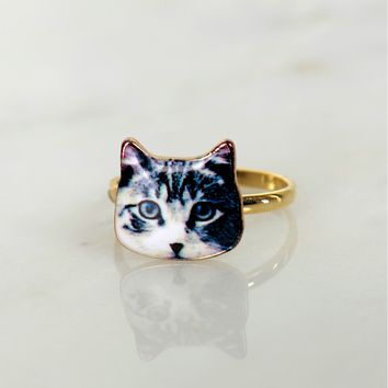 Realistic Cat Ring Gold