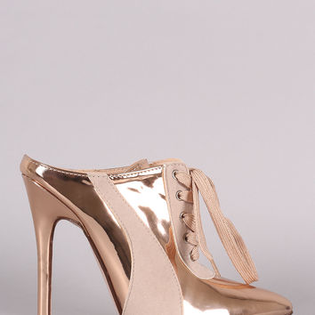 Metallic Two Tone Pointy Toe Sneaker Mule Heel | UrbanOG