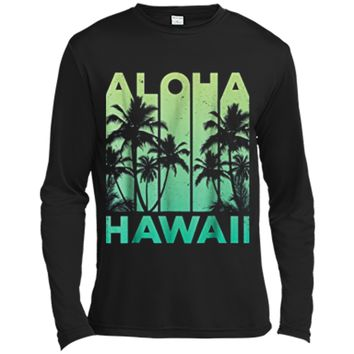 Aloha Hawaii Hawaiian Island Vintage 1980s Throwback Long Sleeve Moisture Absorbing Shirt