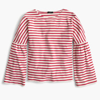 Striped bell-sleeve T-shirt