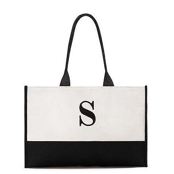 """Modern Initial Colorblock Tote - Black Letter """"C"""" (Pack of 1)"""