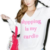 Wildfox Couture Shopping Is My Cardio Baggy Beach Jumper Clean White